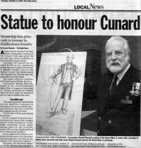 Clipping from Halifax press reporting on official launch of Sir SamuelCunard Memorial Project