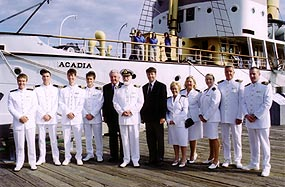 Commodore R.W. Warwick, Bill Miller, John G. Langley and officers of QM2 at Maritime Museum of Atlantic September 26, 2004