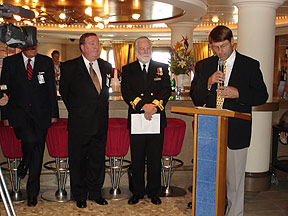 John G. Langley, Q.C., Chairman of Cunard Steamship Society addressing media aboard Queen Mary 2 at official launch of Cunard Monument Project October 3, 2005