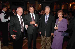 Reception in Queens Room aboard QM2.Those shown here (L to R) are Harold Woods, John G. Langley, Robert Murphy and Beryl Woods