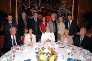 'Commodore's Table', Tribute Luncheon July 24, 2006.Standing, L to R - Robert Lloyd, Christopher Dougherty, Tom Cassidy, Kim Warwick, Mr. & Mrs. David Warwick, & John G. Langley. Seated, L to R - Bill Miller, Carol Marlow, Commodore Warwick, Barbara & Robert Murphy