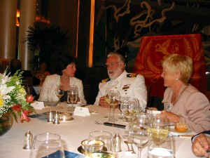 Commodore Warwick, Cunard Line President Carol Marlow(L) and Barbara Murphy (R) at Tribute Luncheon in Britannia Restaurant aboard QM2