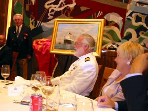Commodore Warwick, followingpresentation of oil painting by marine artist Robert Lloyd