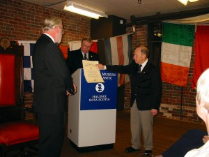 Commodore Warwick receiving Certificate from Grand Master(Maritimes Division) James Calvesbert and Captain Angus McDonald