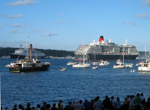 Final parting of the Queens – QE2 and Queen Victoria passing in Sydney Harbour February 24, 2008