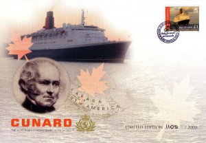 Front piece of commemorative envelope 'QE2 Farewell to Canada' released onboard QE2 in Halifax, Nova Scotia, Canada September 21, 2008