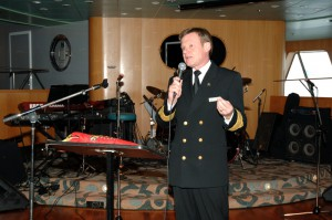 Captain Ian McNaught addressing reception aboard QE2 in Halifax September 21, 2008