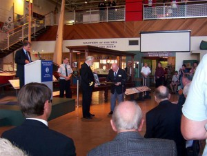 Presentation ceremony at unveiling of the restored Franconia model and display case
