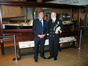 Museum Director John Hennigar-Shuh with Commodore Ronald W. Warwick, Master of Queen Mary 2 with refurbished Cunard liner 'Franconia'