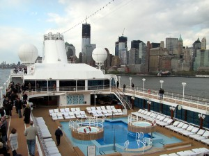 New York/Manhattan skyline as seen from deck of Azamara Journey April 10, 2012, exactly 100 years to the day that the Cunarder Carpathia departed New York on a routine transatlantic crossing which would end with her historic rescue of the survivors of the ill-fated Titanic