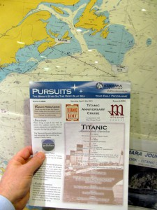 chart with plot of the course taken by Azamara Journey on Titanic Memorial Cruise April 10-18, 2012
