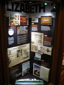 Queen Victoria – 'making and celebrating Cunard history'. Some of the author's artifacts on display in Cunardia Exhibit aboard Queen Victoria.