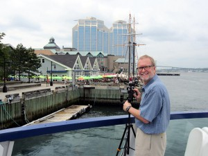 Director/producer Robert Neal Marshall at work behind the camera on the Halifax waterfront
