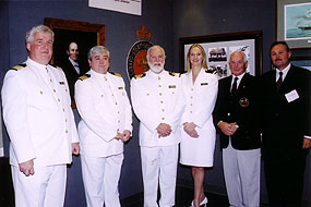 Commodore Warwick and officers of QM2 with Hugh Paton, great great grandson of Samuel Cunard and Graeme Duffus, descendant of Susan Duffus, wife of Cunard Line founder