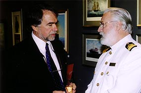 Commodore Warwick in conversation with John Hennigar-Shuh, Director of Maritime Museum of the Atlantic in Halifax'